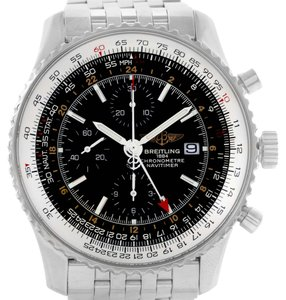 Breitling Breitling Navitimer World GMT Black Dial Steel Bracelet Watch A24322