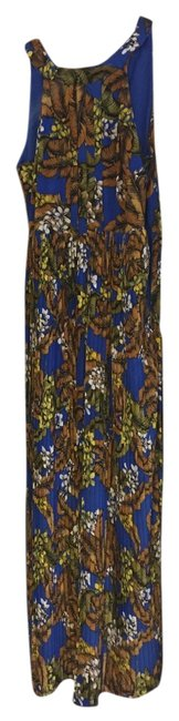 blue white and yellow and tan/orange- floral print Maxi Dress by B. Darlin