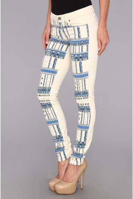 Paige Denim Paige Paige Skinny Paige Premium Denim Skinny Southwest Aztec Print Native American Cream Blue Print Geometric Girls Skinny Jeans-Light Wash