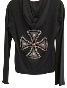 Twisted Heart Rhinestones Bling Swarovski Cross Sweatshirt