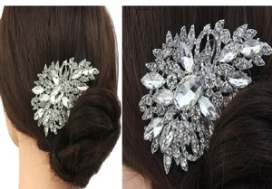 Silver/Diamond/Pearl Swarovski Crystal Comb Barrette Crystals Crystal Floral Flower Clip Hair Accessory