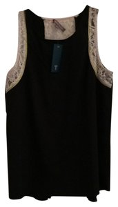 Tinley Road Lace Lace Trim Peek A Boo Top Black