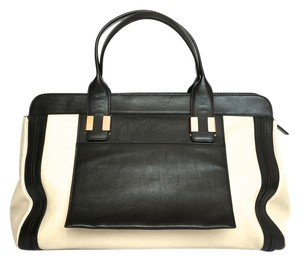 Chloé Alison Sheepskin Calfskin Tote in Black and Tan