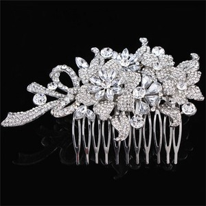 New Vtg Flower Rhinestone Cz Crystal Hair Comb Pin Bride Bridal Bridesmaid Prom Clip Accessories Band Head Jewelry