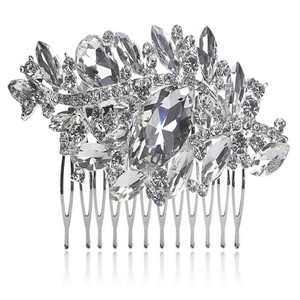 Silver/Diamond/Pearl New Vtg Flower Rhinestone Cz Crystal Comb Pin Bride Bridesmaid Prom Band Head Hair Accessory
