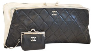 Chanel Lambskin Clutch with Coin Purse Black and White Clutch