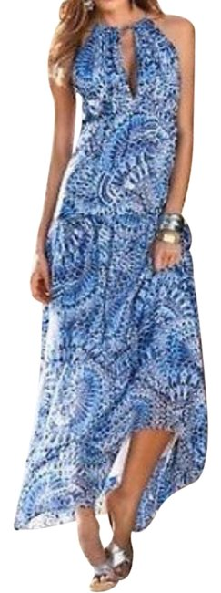 Preload https://img-static.tradesy.com/item/13172392/boston-proper-blue-white-bohemian-boho-feather-print-tiered-long-casual-maxi-dress-size-4-s-0-2-650-650.jpg