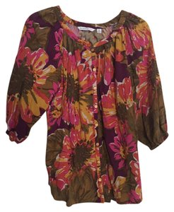 Isaac Mizrahi Top Purple, gold, olive, pink floral