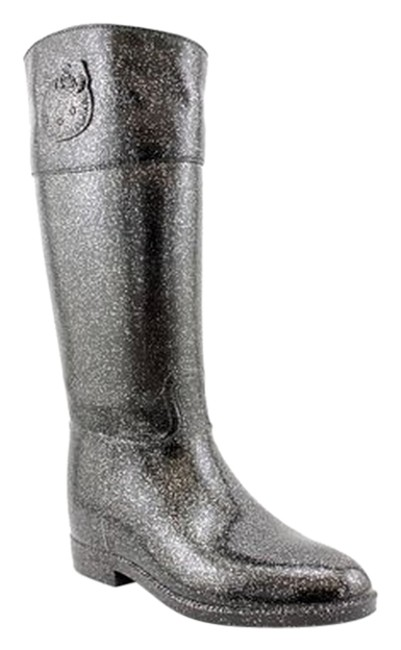Item - Glitter Black-grey Angelina Women's Riding/Rain Boots/Booties Size US 9 Regular (M, B)