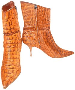 Casadei Pony-hair Snakeskin Ankle Brown Boots