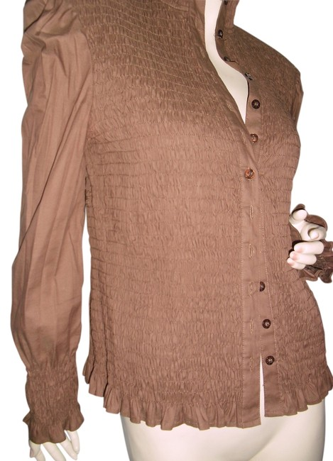 Item - Brown Unique All-ruched Blouse Button-down Top Size 10 (M)