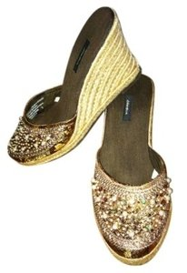 Xhilaration Hemp Heel Beaded Fabric Upper Brown, gold, beading Wedges