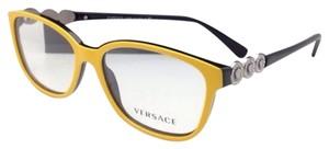 Versace New VERSACE Eyeglasses VE 3181-B 976 53-15 140 Yellow on Black Frame w/ Crystals