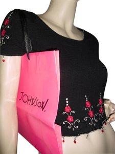 Betsey Johnson Coachella Flower Child Top black