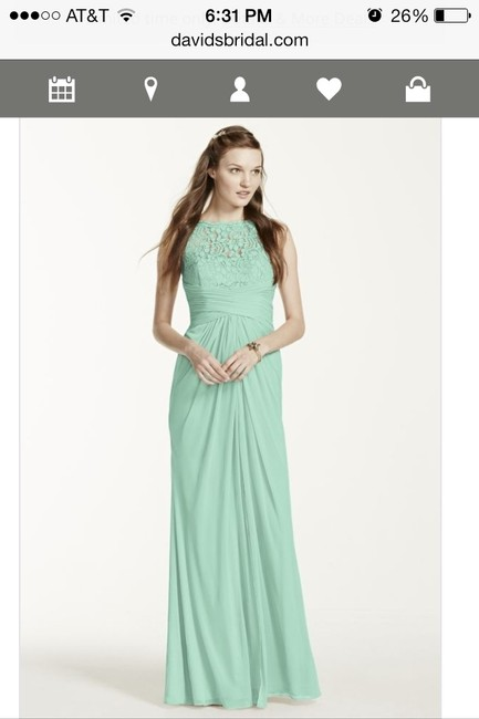 Item - Mint Lace Sleeveless Corded - Style F15749 Vintage Bridesmaid/Mob Dress Size 6 (S)