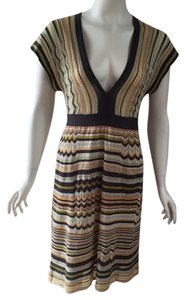 M Missoni short dress Stripped muted grey gold ivory green blue on Tradesy