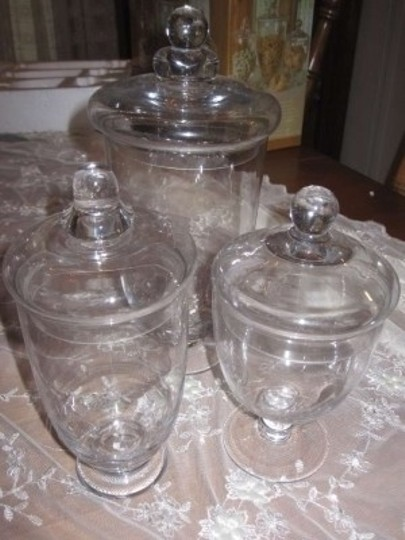 Clear Glass Set Of Three Small Apothecary Jars Centerpiece