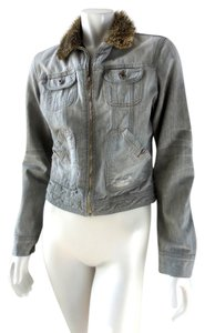 Diesel Zip Up Denim Lined Quilted Gray Womens Jean Jacket
