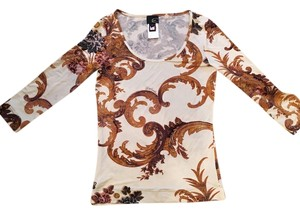 Roberto Cavalli Blouse Top Beige and gold