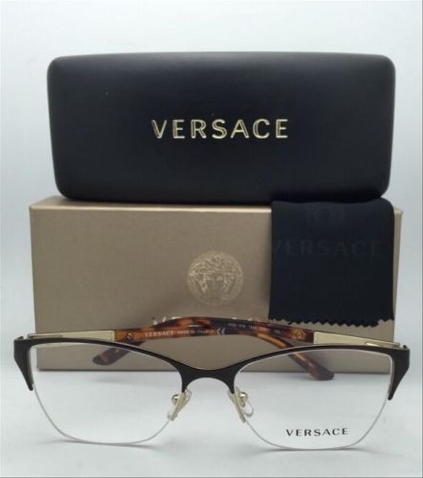 Versace Ve 1218 1344 53-17 Semi-rimless Brown Gold Havana Frames New ...