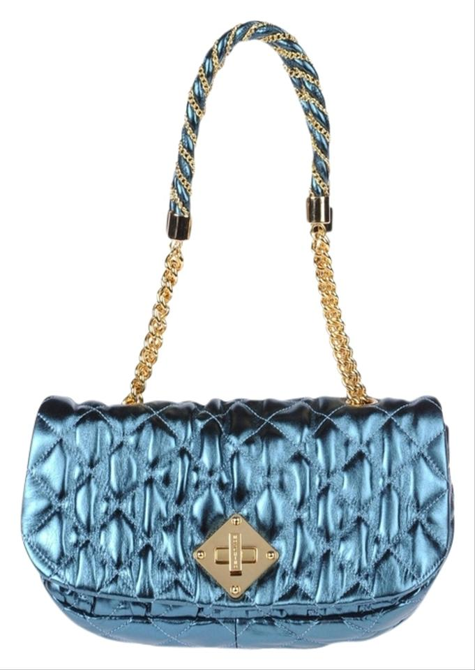 537d6bc2a2b Moschino Quilted Chain Strap Teal Metallic Lambskin Leather Shoulder Bag