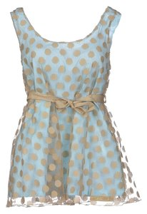 Blumarine Tulle Polka Dots Italian Top light blue/ tan