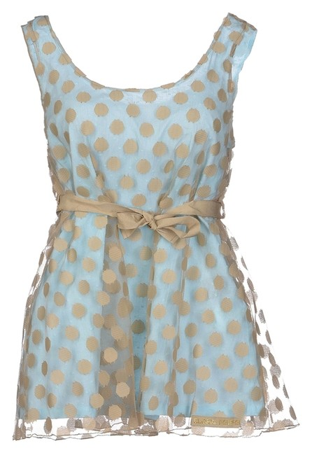 Item - Light Blue/ Tan Beige Polka Dot Sleeveless Camisole Tulle Babydoll Belted (It40) Tank Top/Cami Size 4 (S)