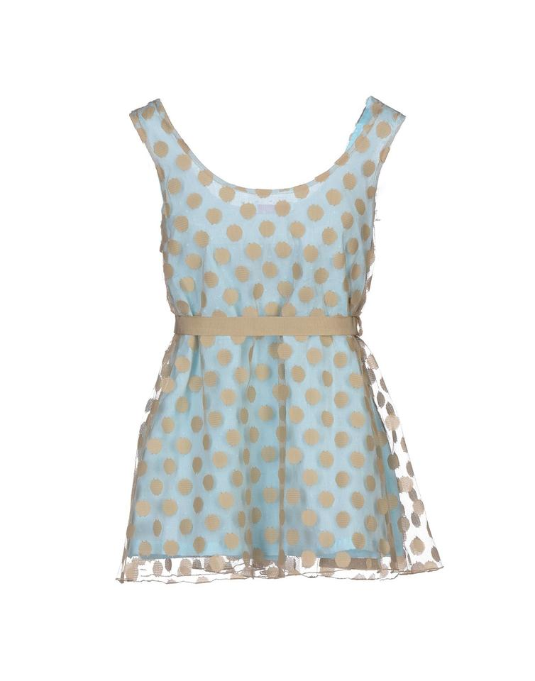 c1bbb4755646e5 Blumarine Light Blue  Tan Beige Polka Dot Sleeveless Camisole Tulle Babydoll  Belted (It40) Tank Top Cami