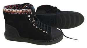 Chanel Black Sneaker Lace Up Size 38 black Red Boots