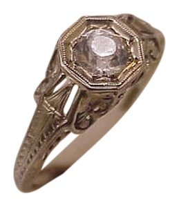 18K White Gold Antique Victorian Old Cut White Stone Ring from 1800s.