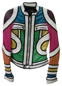 Just Cavalli Leather Abstract green, white, black, pink, purple, yellow Jacket