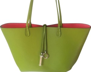 Davido Reversible Textured Gold Hardware Travel Two In One Tote in Lime/Pink