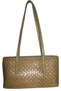 Fossil Leather Woven Brown Zipper Dual Handles Shoulder Bag