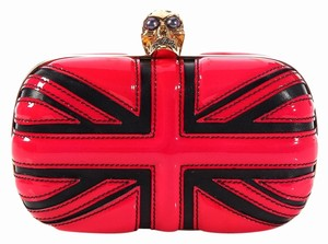 Alexander McQueen Gold Hardware Skull Am.k0211.04 Frame Union Jack Red and Black Clutch