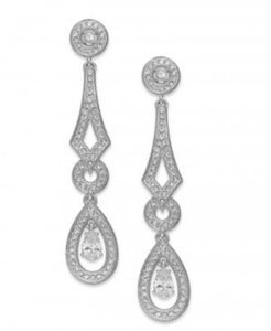 Eliot Danori Crystal and Cubic Zirconia Rhodium-plated Pave Linear Drop (1 Ct. T.w.) Earrings
