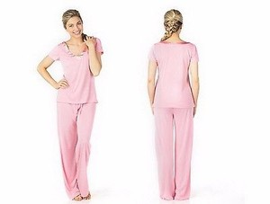Other Sociology Pink Super Soft V-neck Top With Pajama Pant Set 220928rm