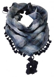 Abercrombie & Fitch Blue Plaid Scarf with Tassle Detail