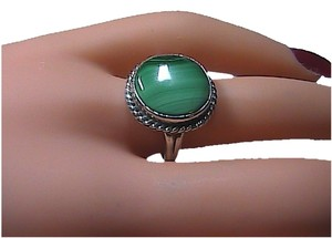 Sterling Silver Round Malachite Ring (M3)
