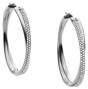 Michael Kors Michael Kors Silver Crisscross Pave Loop Earrings