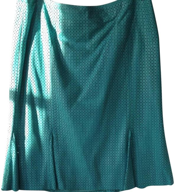 David Meister Leather Perforated Flare Skirt Turquoise