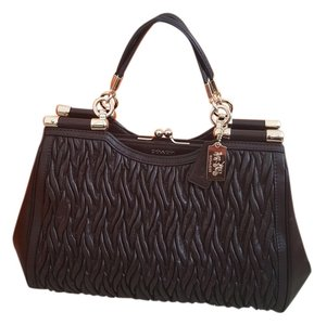 Coach Elegant Twisted Leather Madison Gathered Twisted Leather Satchel in Dark Brown