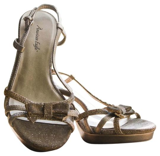 American Eagle Outfitters Strappy Heels Glitter Bow Heels Sparkle Gold Cute Heels Used Size 5 Heels Heels Bow Brown/Gold Sparkle Pumps