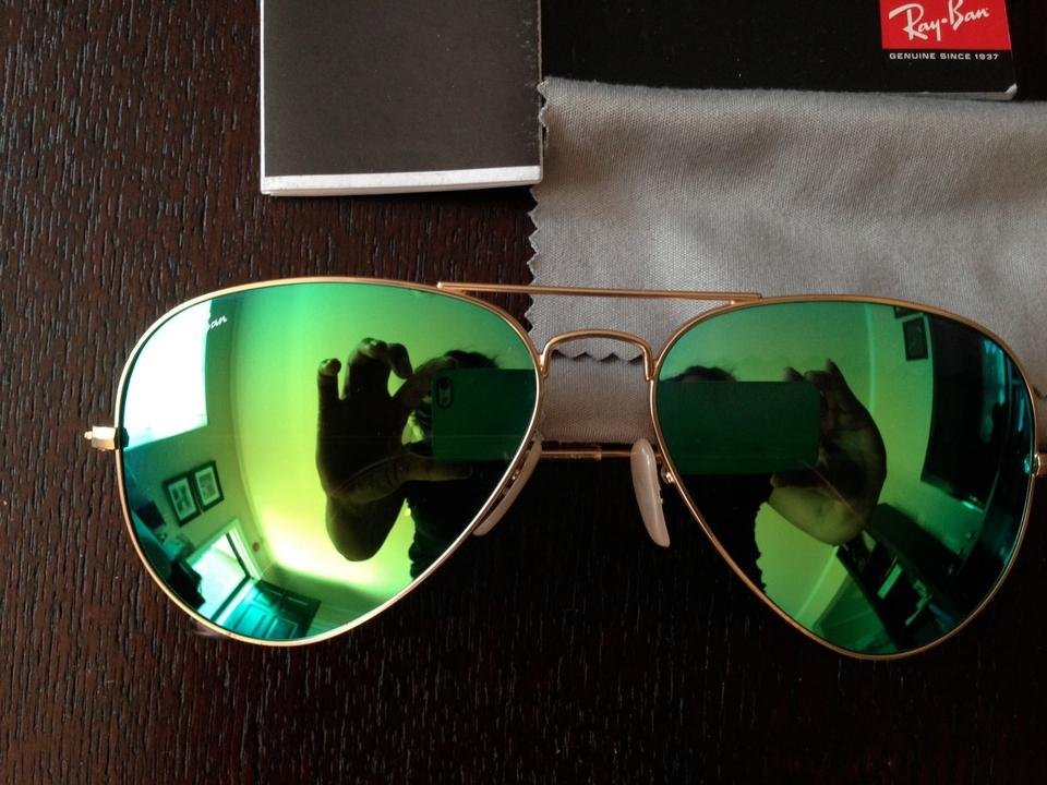 2db98a831e377 Ray-Ban Green with Gold Frame Aviator Mirror Lens - Lens - Rb3025 Sunglasses