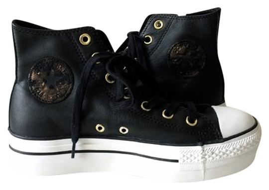 Converse Black/Gold All Star- Leather