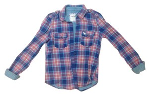 Abercrombie Kids Button Down Shirt Blue Pink White
