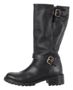 Fendi Black Leather Gold Buckle Boots