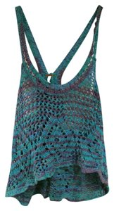 Free People Summer Pool Likenew Green Blue Top Purple/Green/Blue