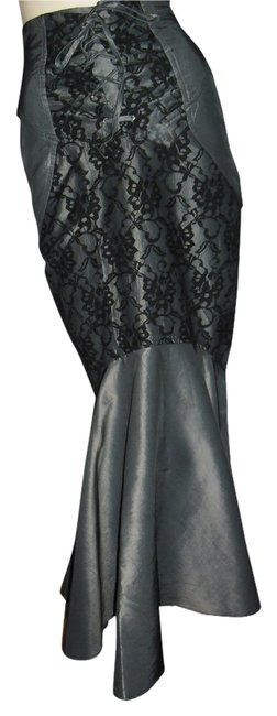 Item - Black Gray Vintage Unique Trumpet Mermaid Eyelet Lace Trim Long Skirt Size 6 (S, 28)