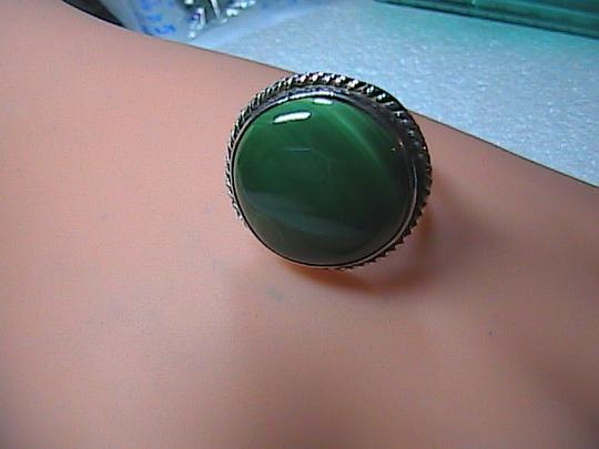 Other Sterling Silver Round Malachite Ring 6.4 grams (itemM1)