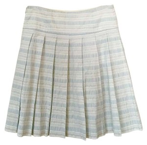 Club Monaco Spring Preppy Textured Skirt Blue, Silver, White